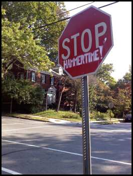 this is a stop sign one block away at an intersection with much less traffic